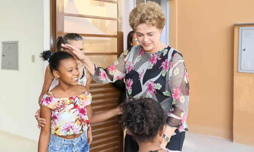 Brazilian President Dilma Rousseff with children in Rio de Janeiro last week