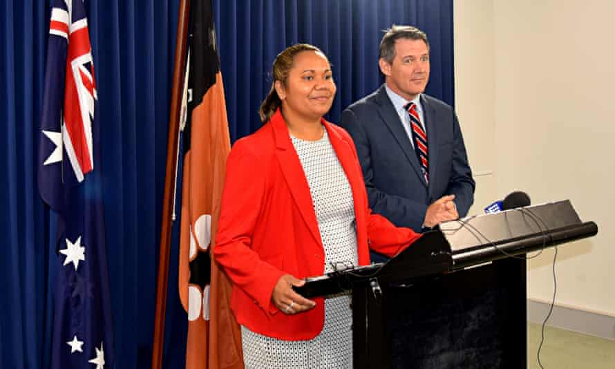 Education minister Selena Uibo with chief minister Michael Gunner. The government is preparing to cut housing subsidies for teachers in Katherine