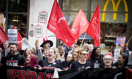 McDonald's, TGI Fridays and Wetherspoons workers strike together in Leicester Square, London, 4 October 2018.