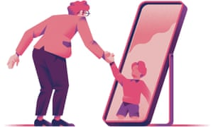 Michele Marconi illustration of someone looking in a mirror and shaking hands with their younger self