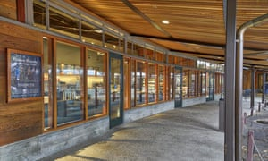 There is an intentional lack of exterior signage for the new Starbucks at Yosemite national park.