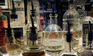 Bottles of artisanal gin