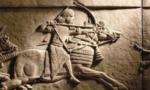 Ashurbanipal hunting on horseback