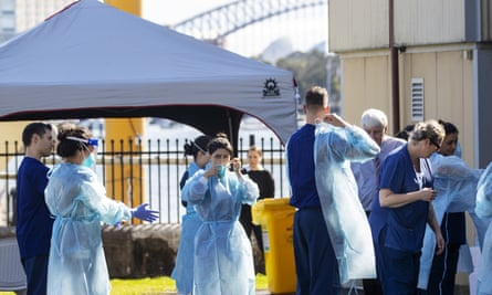 Health care workers at a pop-up Covid-19 testing clinic in Rushcutters Bay, Sydney, Australia