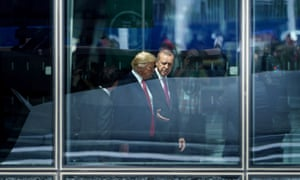 Trump and Erdoğan at a Nato summit in Brussels last year