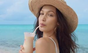 Model Bella Hadid in an advert for Fyre festival.