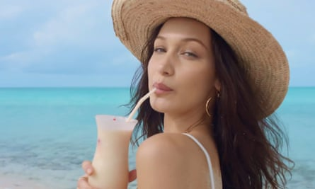 Screengrab from an advert for Fyre Fest, featuring model Bella Hadid.