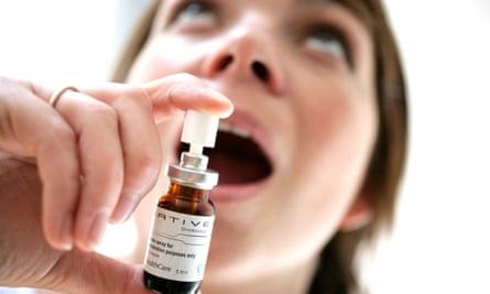 Woman with Sativex oral spray