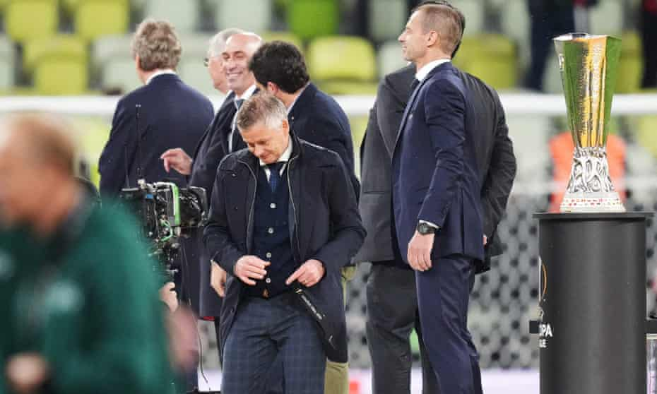 Ole Gunnar Solskjær after collecting his medal on a night when he again delayed making substitutions.