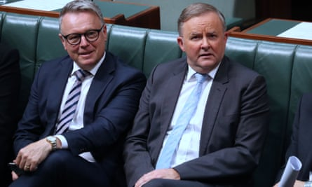 Joel Fitzgibbon and Anthony Albanese in parliament