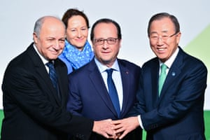 Hollande and Ban Ki-moon arriving at COP21 talks on 30 November