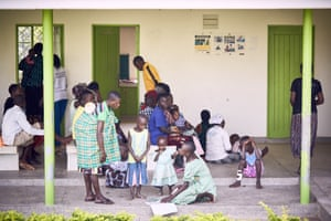 Rural families at an outreach session in Uganda's Mbale district