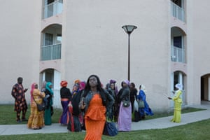 Malian girls outside a wedding party in Deuil-la-Barre, Paris
