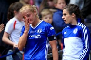 Chelsea Ladies captain Katie Chapman looks dejected after her team underperformed.