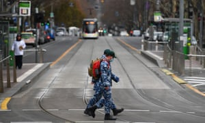 Defence force personnel patrol the streets of Melbourne