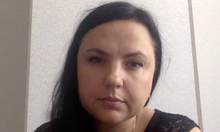 A video still shows Irina Biryukova, a Russian lawyer who fled Russia after receiving  death threats.