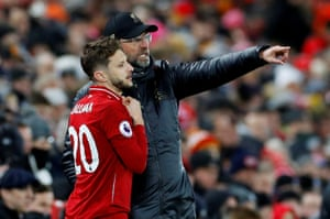 Klopp gives Lallana instructions before sending him on.