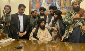 Taliban fighters take control of Afghan presidential palace in Kabul after the Afghan President Ashraf Ghani fled the country earlier today.