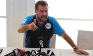 Matteo Salvini at a rally in southern Italy