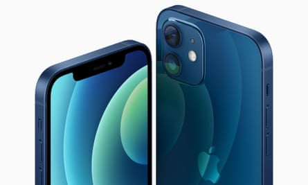 The iPhone 12 in the new blue colour option.