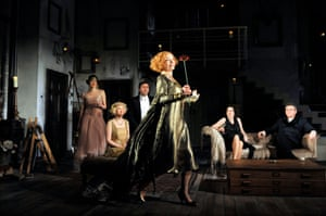 Waller-Bridge, far left, was 'truly memorable' as Sorel Bliss, 'a gauche 19-year-old trying strenuously hard to be soigné and sophisticated' in Noël Coward's Hay Fever in 2012. Amy Morgan, Sam Callis, Lindsay Duncan, Olivia Colman and Kevin McNally. Howard Davies directed the 2012 revival at the Noël Coward theatre, London.