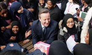 David Cameron visits Harris academy in Bermondsey, south London.