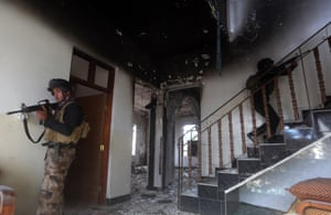 Another heavily damaged building in central Ramadi