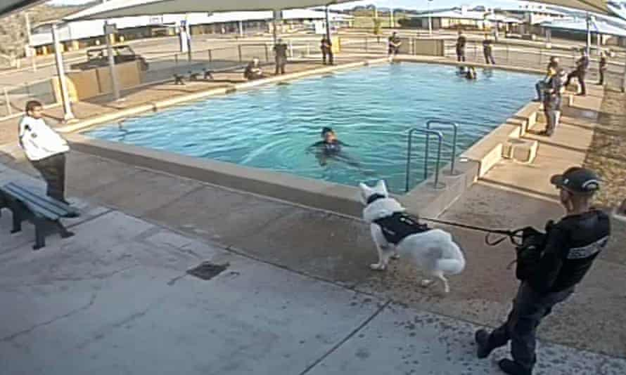 Amnesty International has released this image, which it says shows a guard using an unmuzzled dog to intimidate a girl as she was attempting to get out of a swimming pool in a Queensland youth detention centre in Australia.