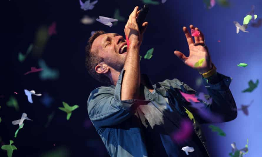 Lead singer of Coldplay, Chris Martin, performs at Glastonbury