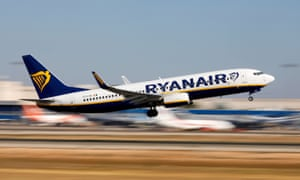 Ryanair Boeing 737 plane takes off from Palma de Mallorca airport