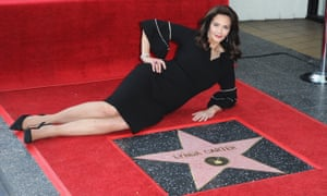 'It will be here for ever' … Lynda Carter poses with her star on the Hollywood Walk of Fame