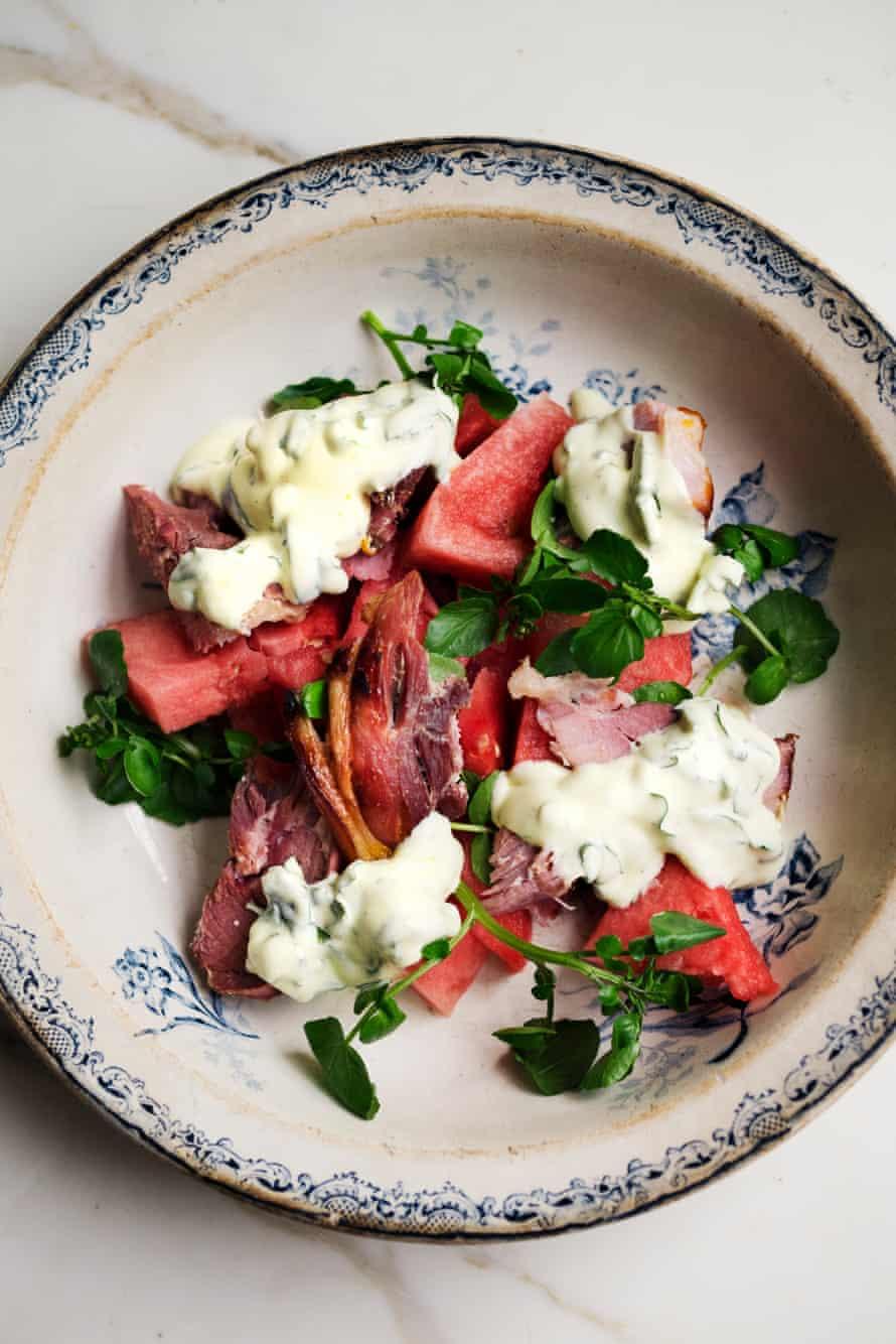 Ham, watermelon and basil salad