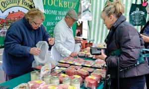 A farmers' market in Kent selling locally sourced meat.