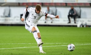 Germany's Timo Werner scores their first goal.
