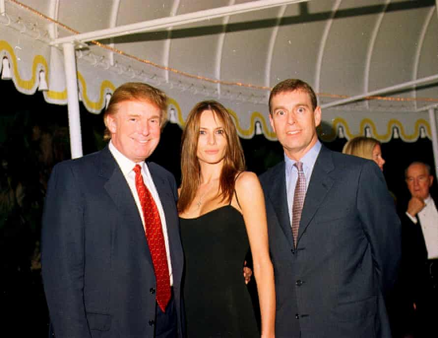 Donald Trump with his future wife, Melania, and Prince Andrew at the Mar-a-Lago estate on 12 February  2000