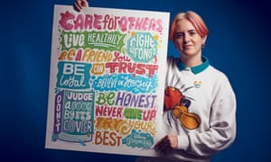 British illustrator Kate Moross with her design of the poster.