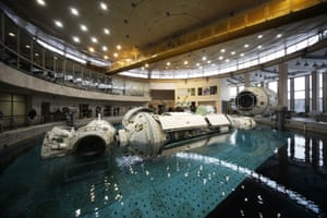 Part of a space ship in a pool of water at the Yuri Gagarin Cosmonaut Training Center, Star City, Moscow Oblast, Russia.