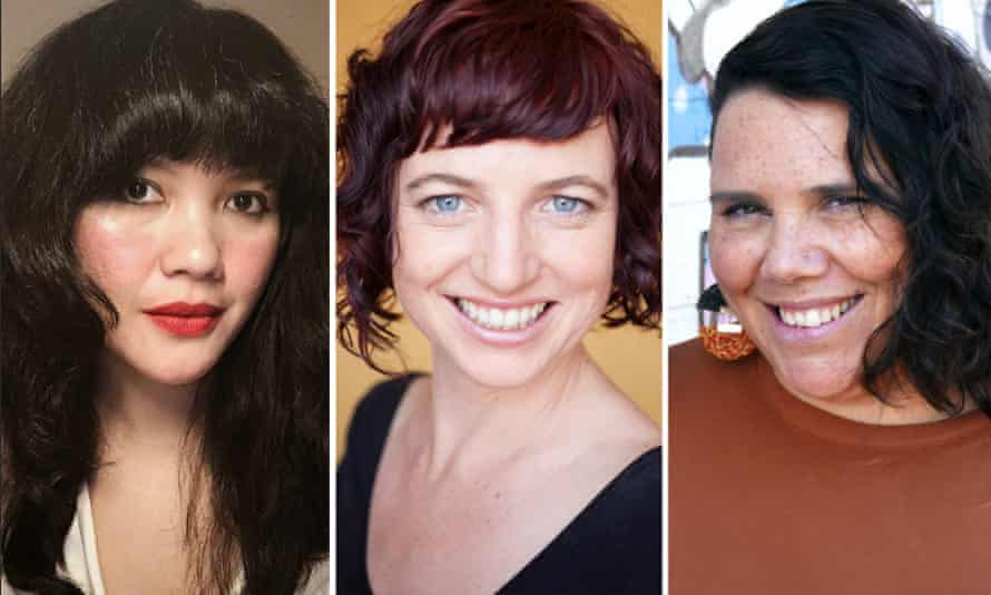 Three of the finalists in the 2021 Stella Prize for literature, from left to right, Intan Paramaditha, Laura Jean KcKay and Nardi Simpson.