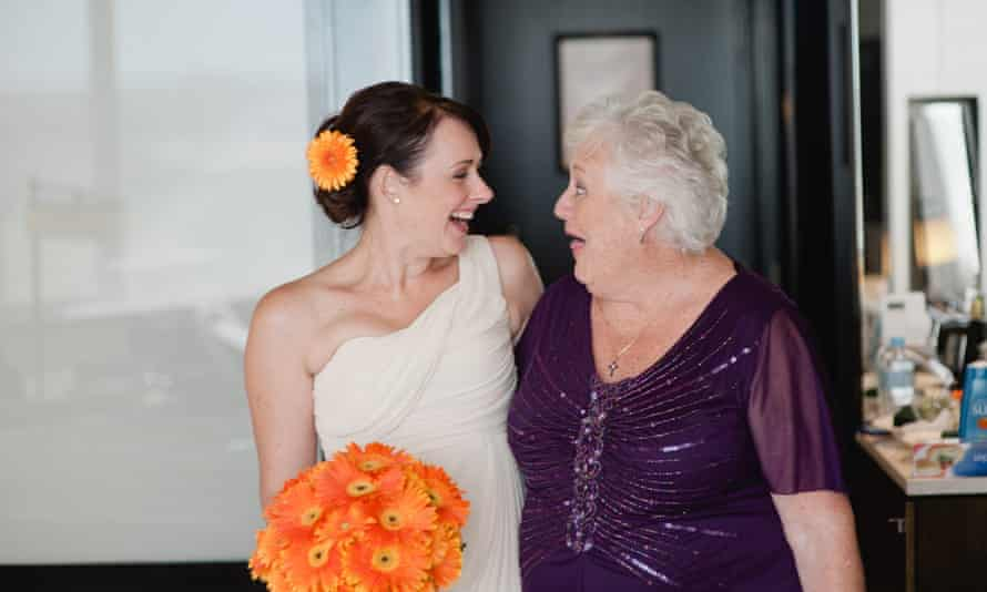 Simone Grimm with her mother Maureen Preedy on her wedding day. Maureen Preedy died in early April.