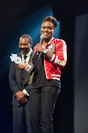 Olympic gold medallist boxer Nicola Adams collects her MOBO award at the MOBO Awards show in November 2016