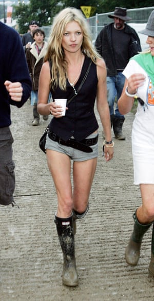 Hunter wellies, short shorts and a sleeveless black top, 2005. A no-cagoule zone.