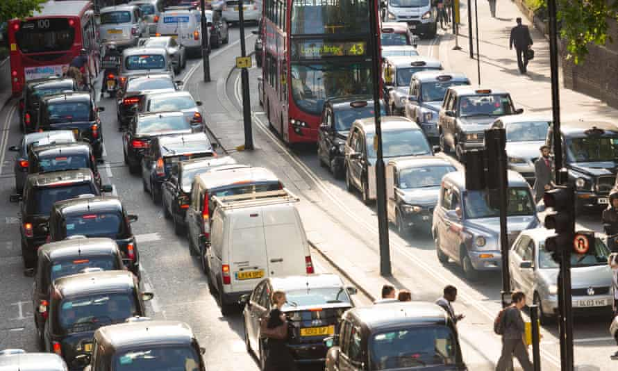 Gridlock traffic jam on London Wall in the City of London during a 24-hour tube strike
