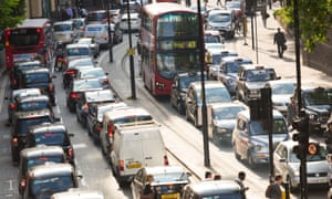 A London road clogged with traffic