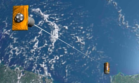 An artist's impression of the 'tether' Japan hoped to use to clear space junk from Earth's orbit. The mission failed on, scientists said on Monday.