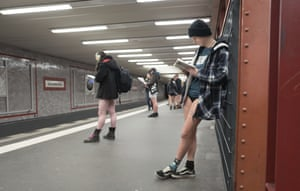 Passengers take part in the No Pants Subway Ride in Berlin Germany