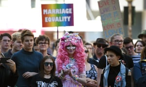Supporters attend a marriage equality rally in Sydney, Saturday in August