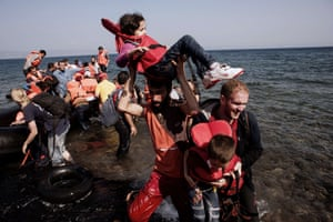 Lesbos, Greece: Refugees and migrants arrive on Eftalou beach