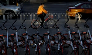 Mobike share bikes in Beijing. The company has started operations in Singapore, and will place 1,000 bikes on the streets of Manchester today.