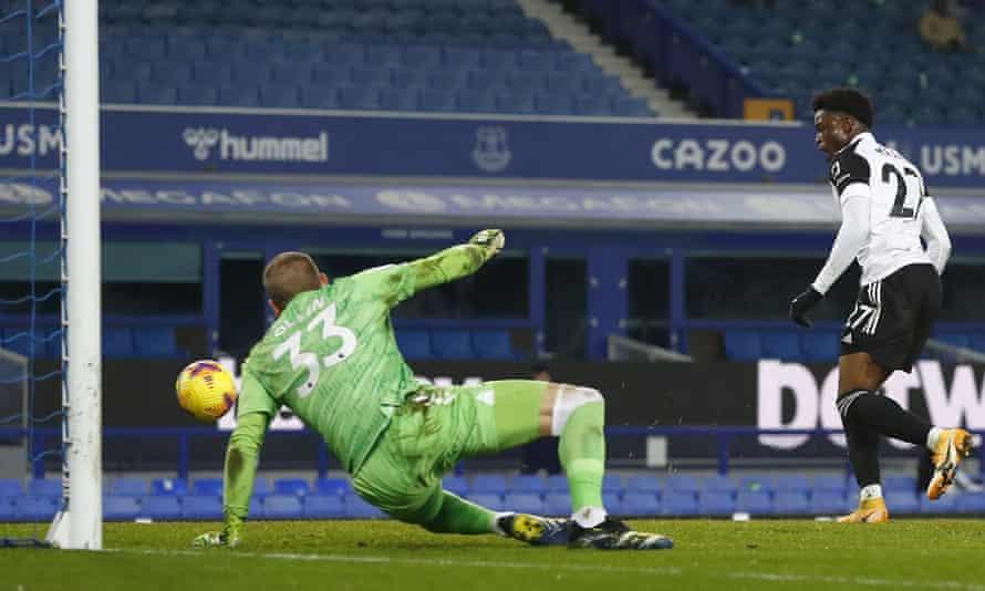 Fulham's Josh Maja scores his side's second goal.