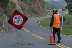 A road cordon on state highway 7A near the Waiau Ferry Bridge.